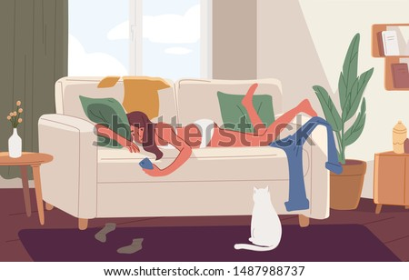 Apathetic young woman lying on sofa in messy room or apartment and surfing internet on smartphone. Lazy girl resting on couch at home. Apathy and indifference. Flat cartoon vector illustration. Сток-фото ©
