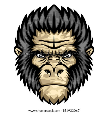 Ape head. Perfect for paintball mascot in a military style. This is vector illustration ideal for a mascot and tattoo or T-shirt graphic.