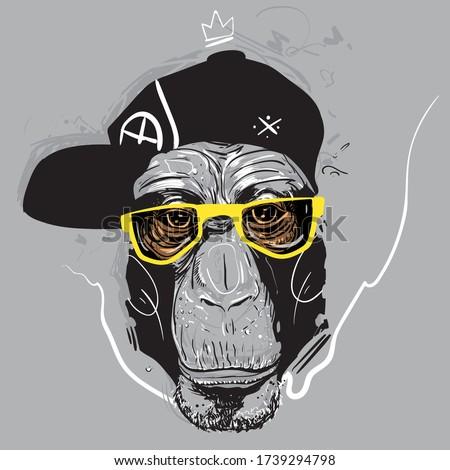 ape in glasses graffiti style