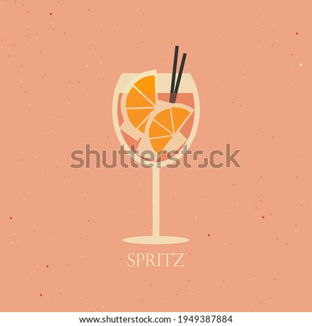 Aperol spritz cocktail on pink background. Vector illustration of alcohol cocktail drink with ice cubes. Summer cocktail aperitif with oranges