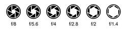 Aperture icons set. Camera lens diaphragm symbols. Camera shutter signs. Aperture value numbers