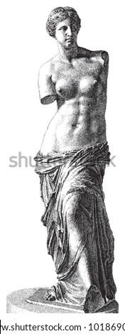 Aphrodite of Milos - Venus / vintage illustration from Brockhaus Konversations-Lexikon 1908