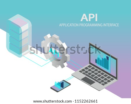 API application programming interface concept vector. Isometric IT illustration.