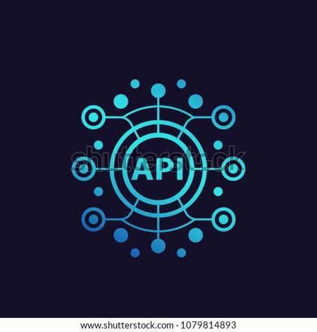 API, application programming interface, software integration vector illustration