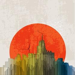 Apocalyptic retro poster. Sunset. Grunge background.