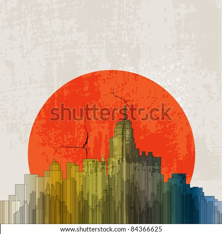 Apocalyptic retro poster. Sunset. Grunge background.