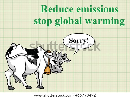 Apologetic cow relating to global warming emissions on graph paper background with copy space for own text