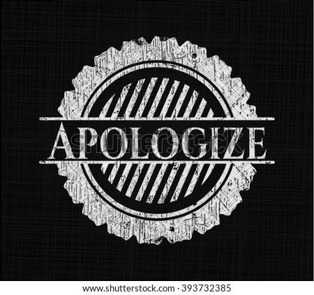 Apologize chalkboard emblem on black board