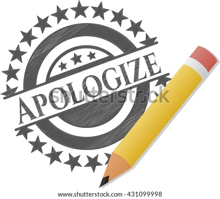 Apologize draw with pencil effect