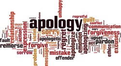 Apology word cloud concept. Collage made of words about apology. Vector illustration