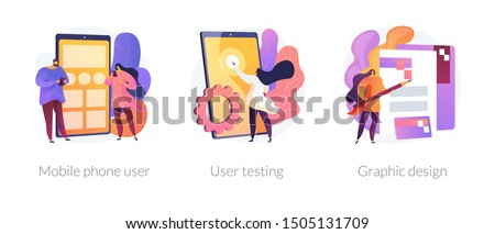 App creation steps icons set. User interface development, bug fixing, public release. Mobile phone user, user testing, graphic design metaphors. Vector isolated concept metaphor illustrations
