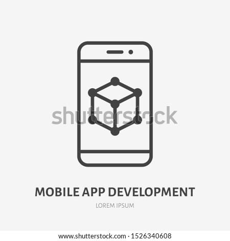 App developing flat line icon. Vector thin sign of mobile phone ui, ux developer logo. Smartphone prototype outline illustration.
