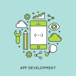 App Development and Application Building with Clod Storage, Settings, Notifications and Monitoring Vector Icon Style Simple Illustration