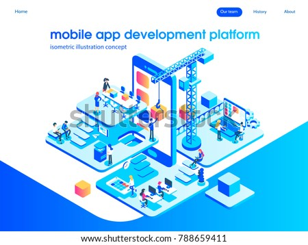App development and startup concept. Launch a new product on a market. Landing page template. 3d vector isometric illustration.