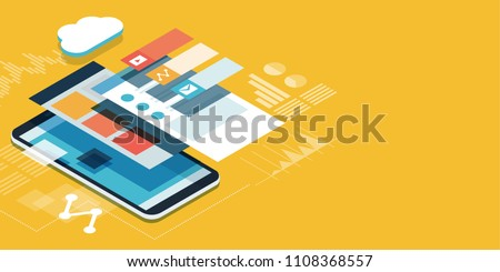 App development and web design: layered user interfaces and screens on a touch screen smartphone