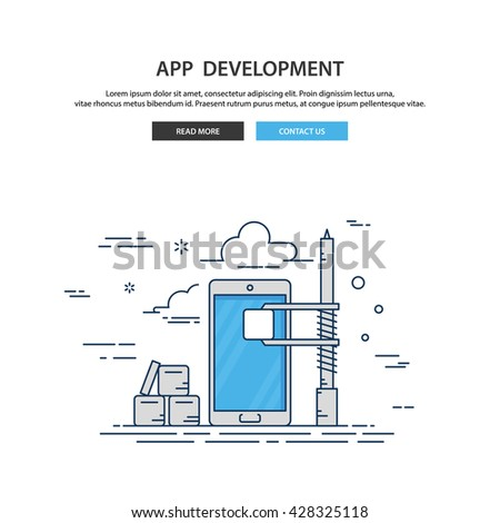 App development. Construction App development. App development web. App development line illustration. App development background. App development isolated. App development vector.