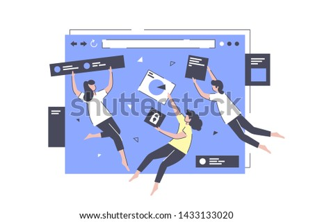 App development in flight vector illustration. Smart colleagues performing complicated task in creation of web application flat style. Website design concept Stock photo ©
