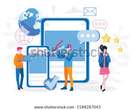 App development, people developing a Mobile application, AR VR future technologies, developers coding programs, Vector illustration for web banner, infographics, mobile.