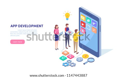 App development. Programmer, Developer. Mobile application. Smartphone technology. Isometric cartoon miniature  illustration vector graphic on white background.  #1147443887