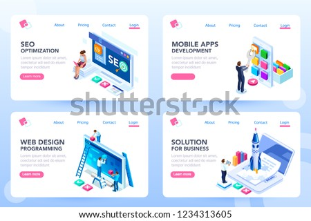 App for business solutions. Modern login on social menu homepage. Set of landing responsive ui for e-commerce. Coding layout and programming for an innovative optimization, html idea. Isometric vector