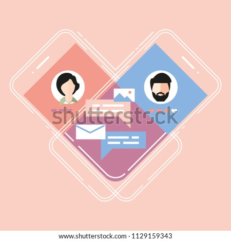 app for dating, virtual people & relationship or dating. female and man on a screen. love heart internet & in social media. choose your one tinder