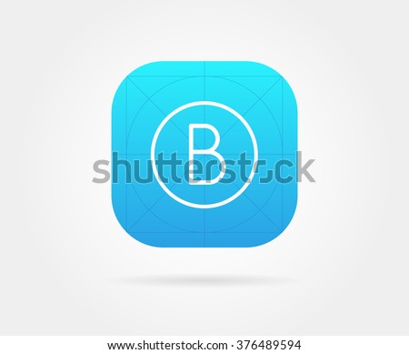 App Icon Template with Guidelines. Vector Fresh Colour. With Font Letter.