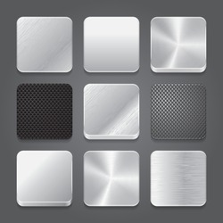 App icons background set. Metal button icons. Vector illustration