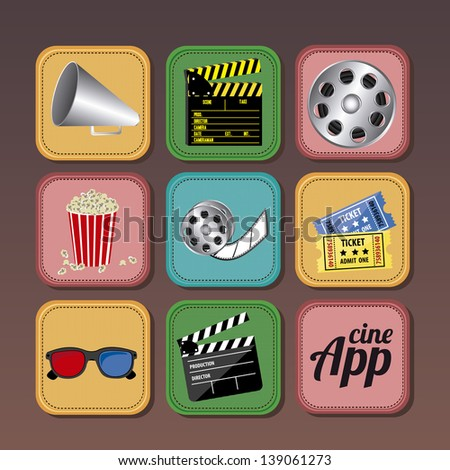 App icons over brown background vector illustration