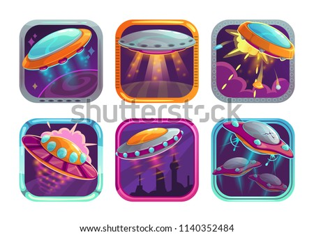 App icons with fighting ufos. Space wars game logo concept. Vector GUI web elements set.