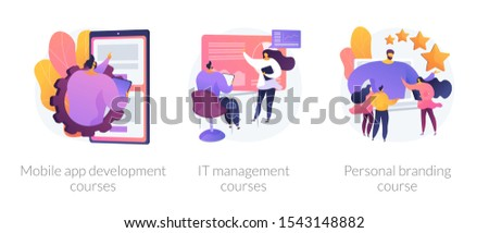 App programming, training workshop, reputation development. Mobile app development courses, it management courses, personal branding course metaphors. Vector isolated concept metaphor illustrations