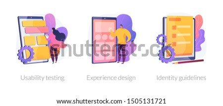 App prototyping icons set. User friendly interface development, branding plan. Usability testing, experience design, identity guidelines metaphors. Vector isolated concept metaphor illustrations