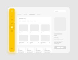 App sidebar menu concept. Wireframes screens. Dashboard UI and UX Kit design. Use for mobile app or website.