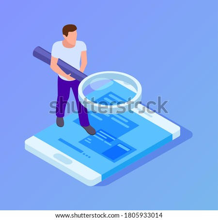 App tester. Isometric man testing mobile app. Man with magnifying glass looks at screen of smartphone vector illustration Сток-фото ©