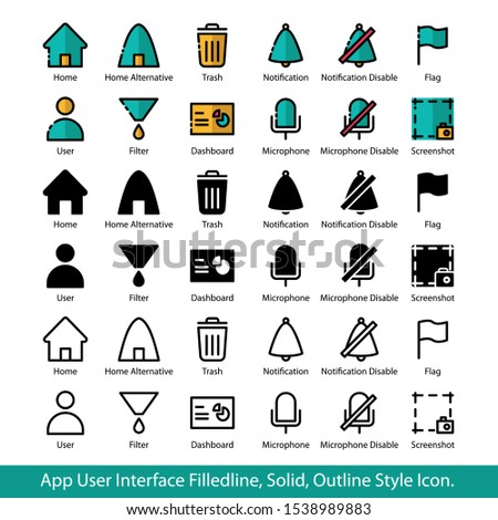 App User Interface Filled line, Solid, Out line style icon set for Home, Home Alt, Trash, Notification, Notification Disable, Flag, User, Filter, Dashboard, Microphone, Microphone Disable, Screenshot.