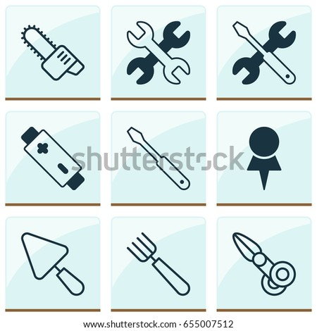 Apparatus Icons Set. Collection Of Garden Fork, Putty, Clippers And Other Elements. Also Includes Symbols Such As Pin, Garden, Battery.
