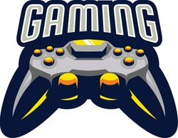 Apparel print design for gamers, cyber sportsmen's and geek culture with two gamepad joystick for play arcade video games and with inscription