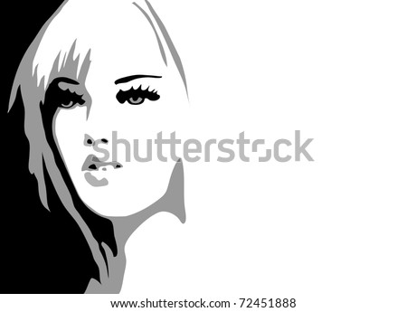 Appearance of woman face in black, grey and white spots. Vector.