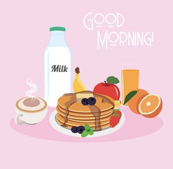 Appetizing and nutritive breakfast with pancakes strawberry blueberries syrup coffee orange juice apple milk banana good morning