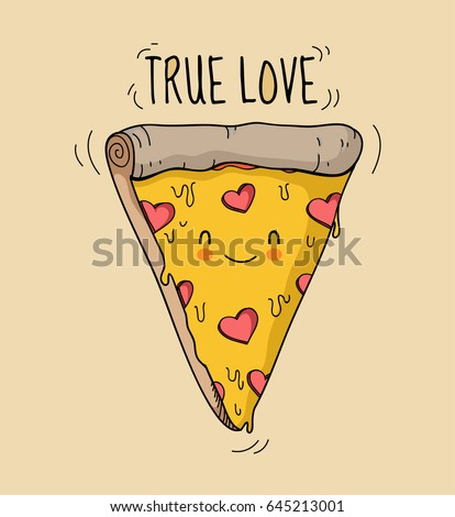 Appetizing animated smiling cute pizza triangle with cheese and salami in the form of hearts. Text