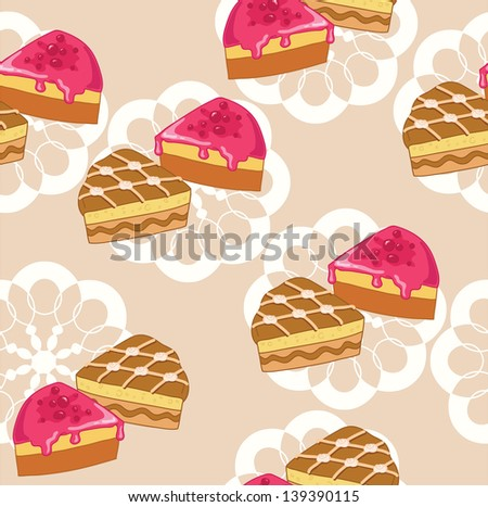 Appetizing cake and pie on the beige background