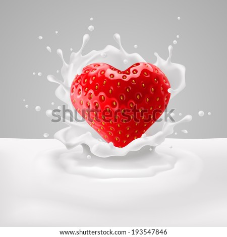 appetizing strawberry heart in