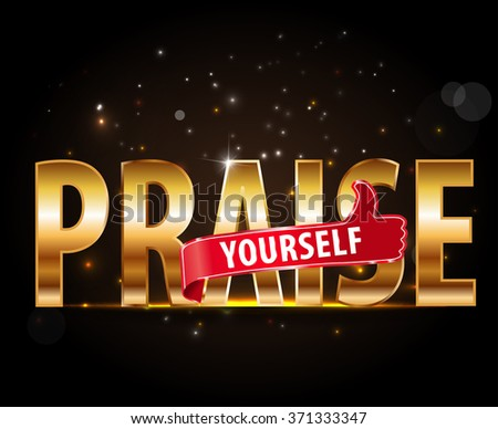 applause Bravo concept of success, golden typography with thumbs up sign - vector eps 10 #371333347
