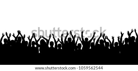 Applause crowd people silhouette. Cheerful crowd cheering. Hands up