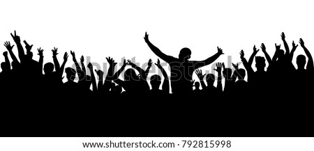 Shutterstock Applause crowd silhouette, cheerful people