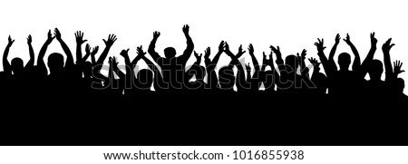 Applause crowd silhouette, cheerful people. Concert, party. Funny cheering, isolated vector