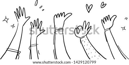 applause hand drawn white background