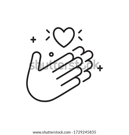 Applause icon in line style with thank you. Hands with a heart.