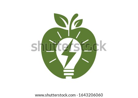 apple and electricity logo sign