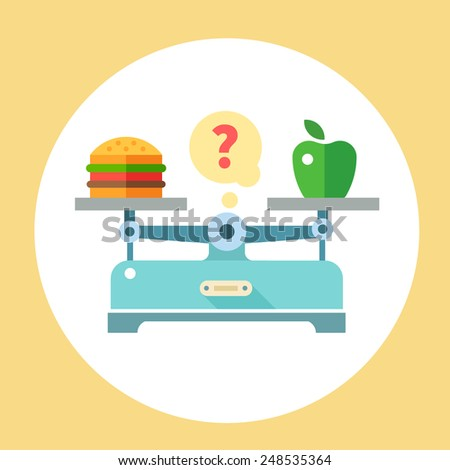 Apple and hamburger on scales. Diet. Healthy food. Vector flat illustration