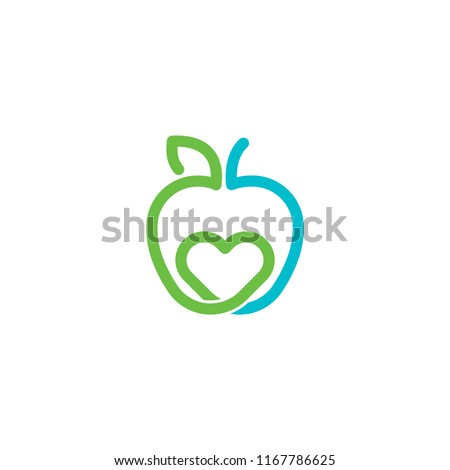 apple and heart vector logo